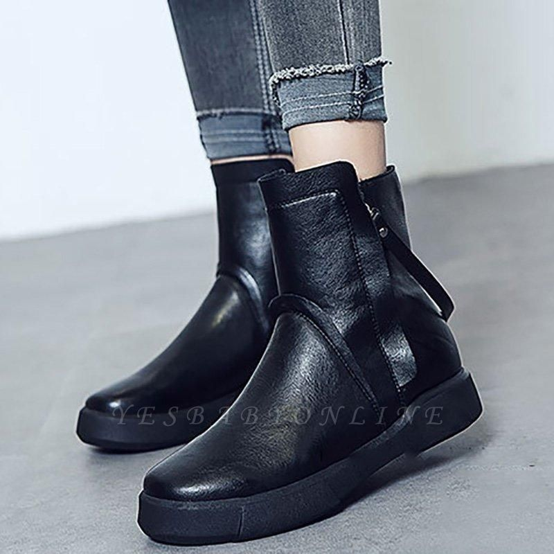 Zipper Daily Round Toe Flat Heel Boots On Sale