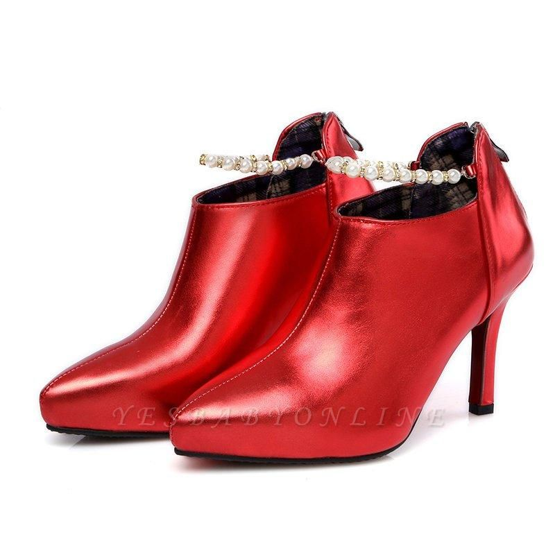 Silver Zipper Daily Elegant Stiletto Heel Pointed Toe Boots On Sale