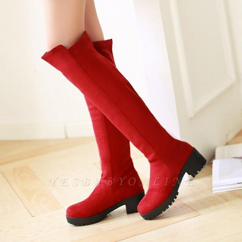 Suede Daily Chunky Heel Round Boots On Sale