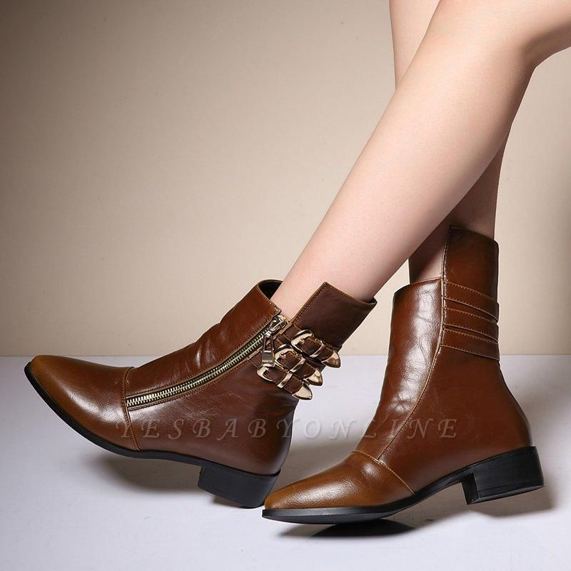PU Chunky Heel Zipper Pointed Toe Casual Boots On Sale