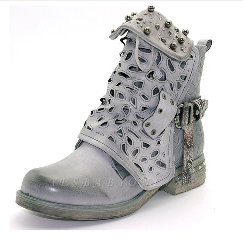 Hollow-out Daily Chunky Heel Round Toe Boots On Sale
