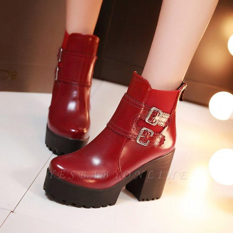 Buckle PU Chunky Heel Round Boots On Sale