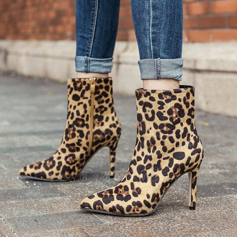 Leopard Date Zipper Suede Pointed Toe Boots On Sale