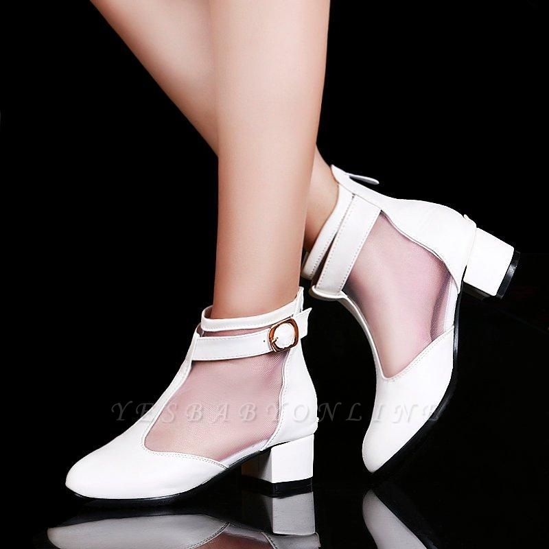 Buckle Pointed Toe Chunky Heel Elegant Boots On Sale