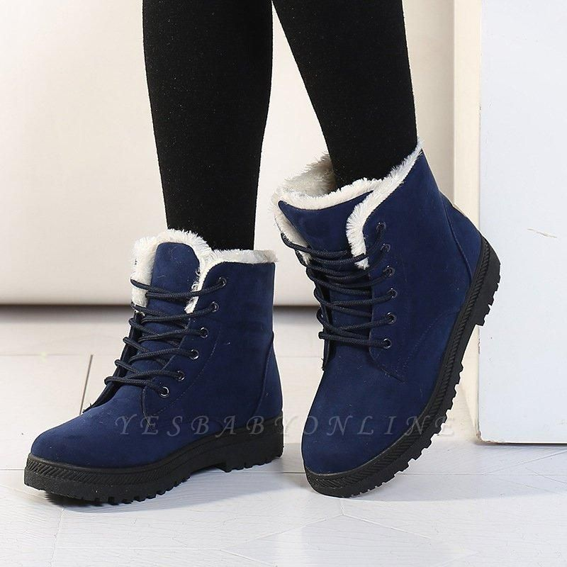Daily Lace-up Round Toe Boots On Sale