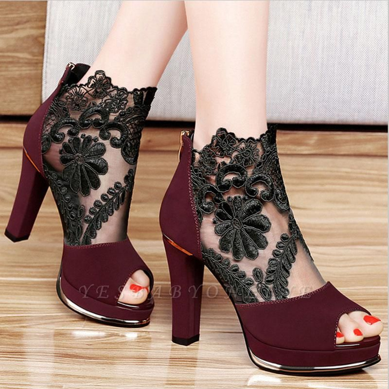 Black Lace Chunky Prom Shoes Party Shoes On Sale