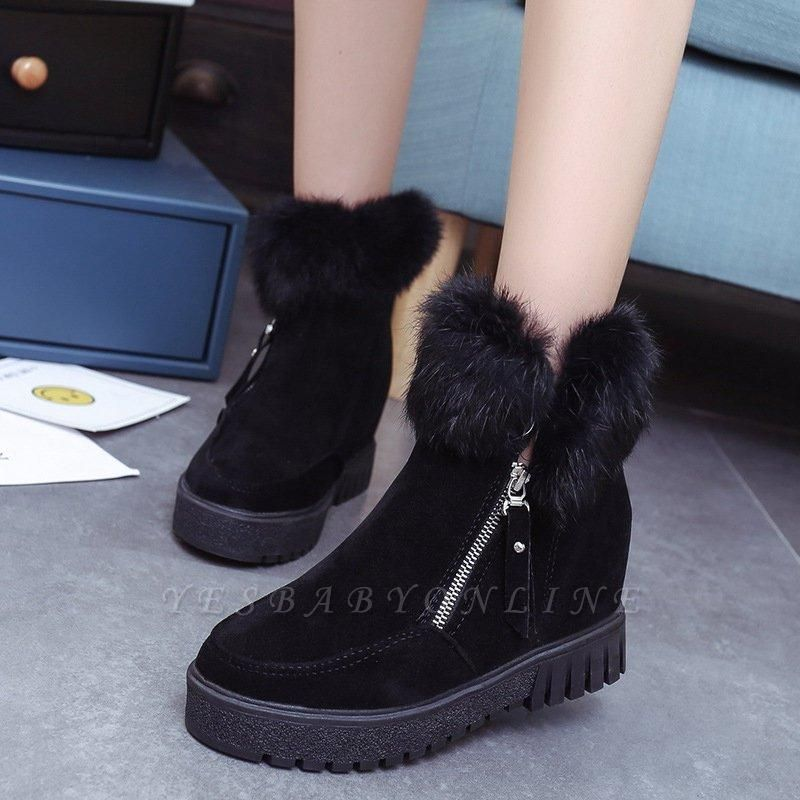 Zipper Fall Suede Chunky Heel Round Boots On Sale