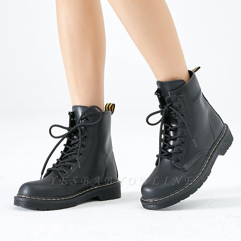 Chunky Heel Lace-up Round Toe Boots On Sale