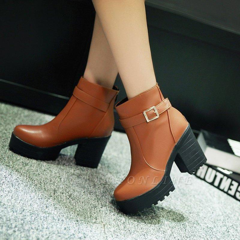 Daily PU Chunky Heel Round Toe On Sale