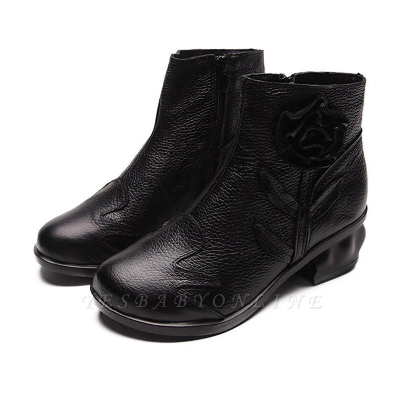 Chunky Heel Leather Flower Round Boots On Sale