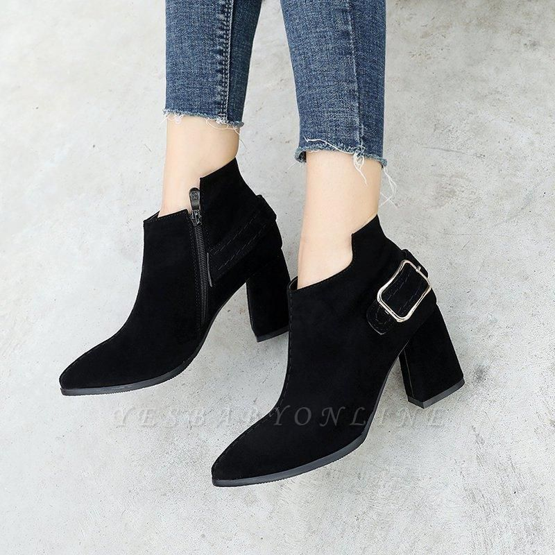 Daily Chunky Heel Suede Elegant Round Toe Boots On Sale