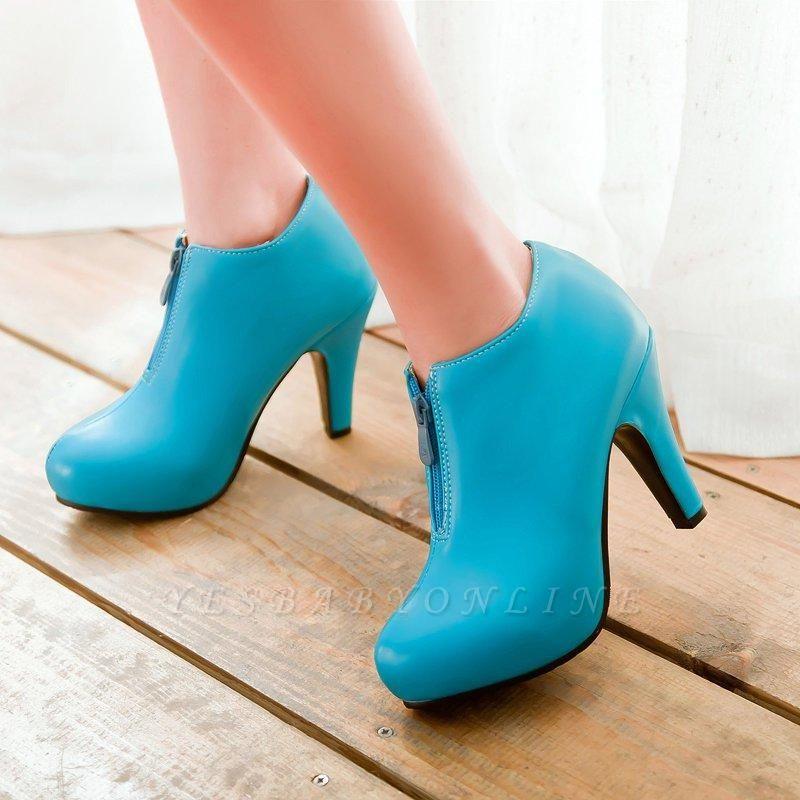 Chunky Heel Zipper Boots On Sale