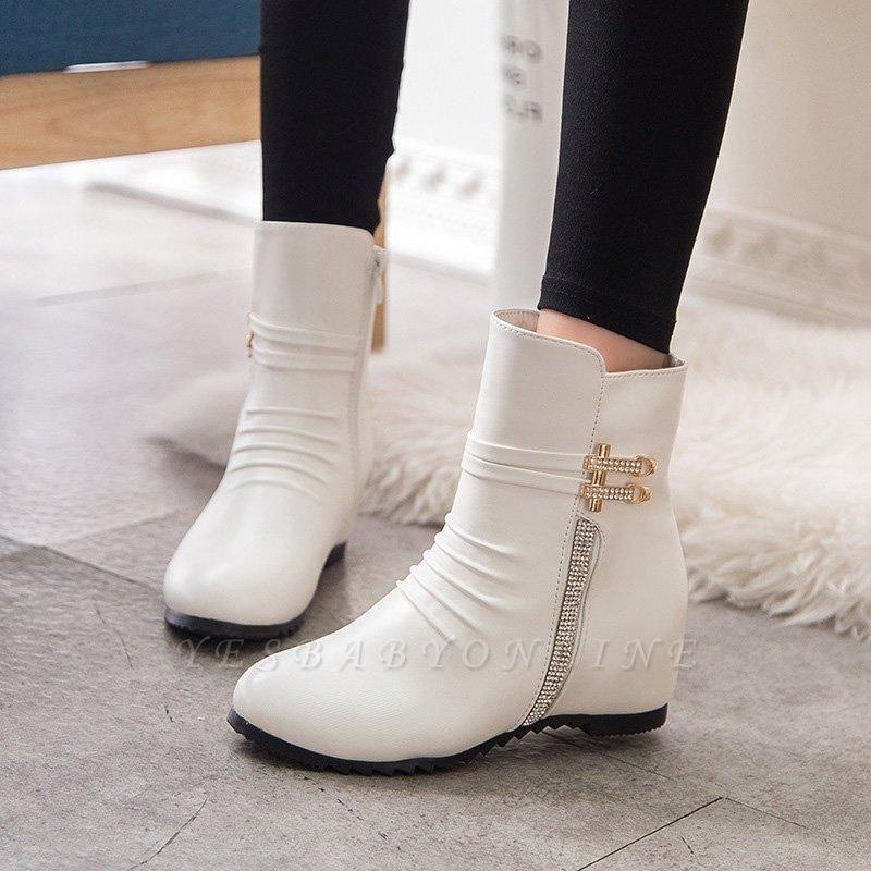 Daily Zipper PU Wedge Heel Round Toe Elegant Boots On Sale