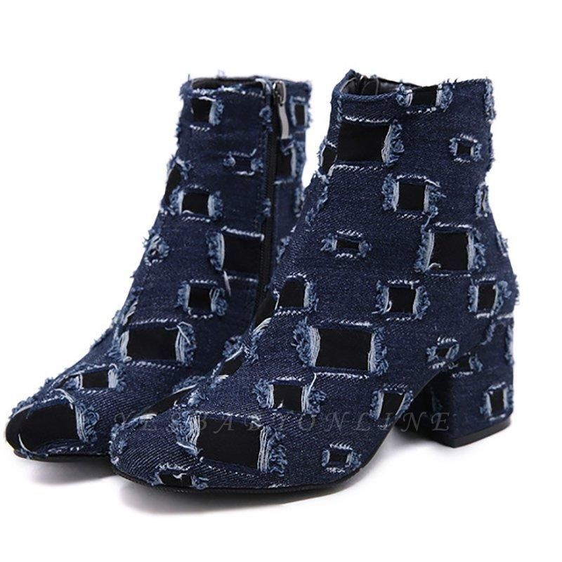 Daily Hollow-out Chunky Heel Round Toe Boots On Sale