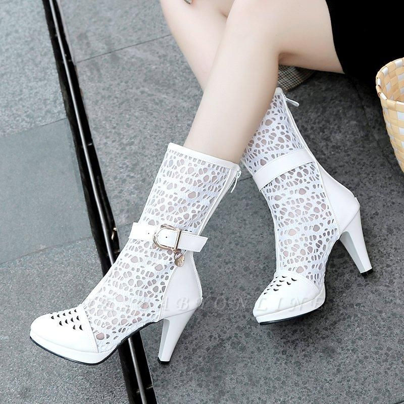 Buckle Hollow-out Zipper Round Toe Boots On Sale