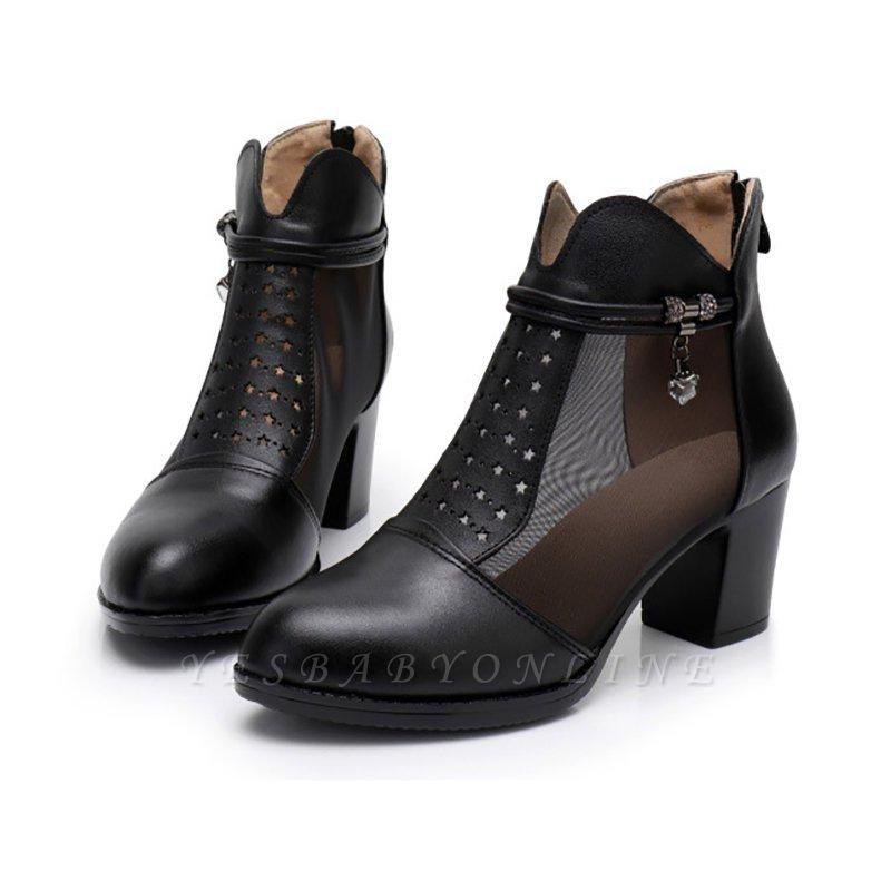 Beading Chunky Heel Round Toe Zipper Boots On Sale