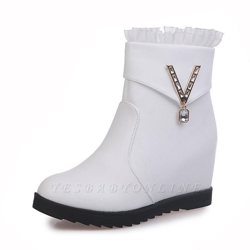 Rhinestone Round Toe Zipper Elegant Wedge Heel Boots On Sale