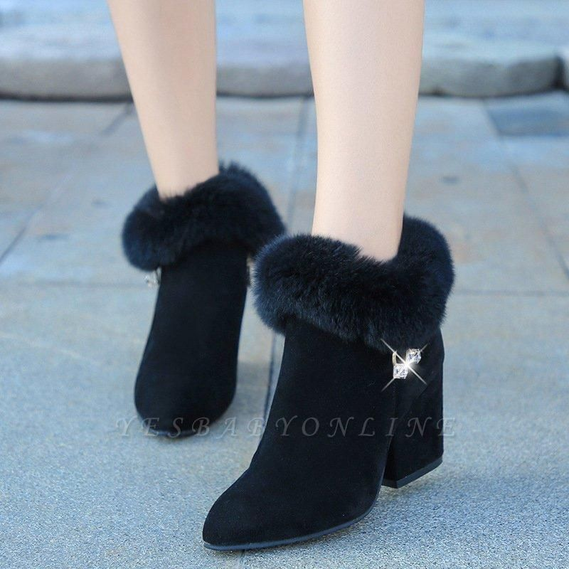 Suede Daily Zipper Chunky Heel Fur Pointed Boots On Sale