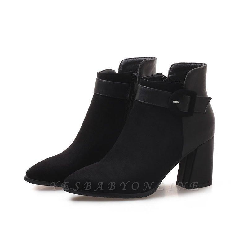 Daily Chunky Heel Suede Round Toe Boot On Sale