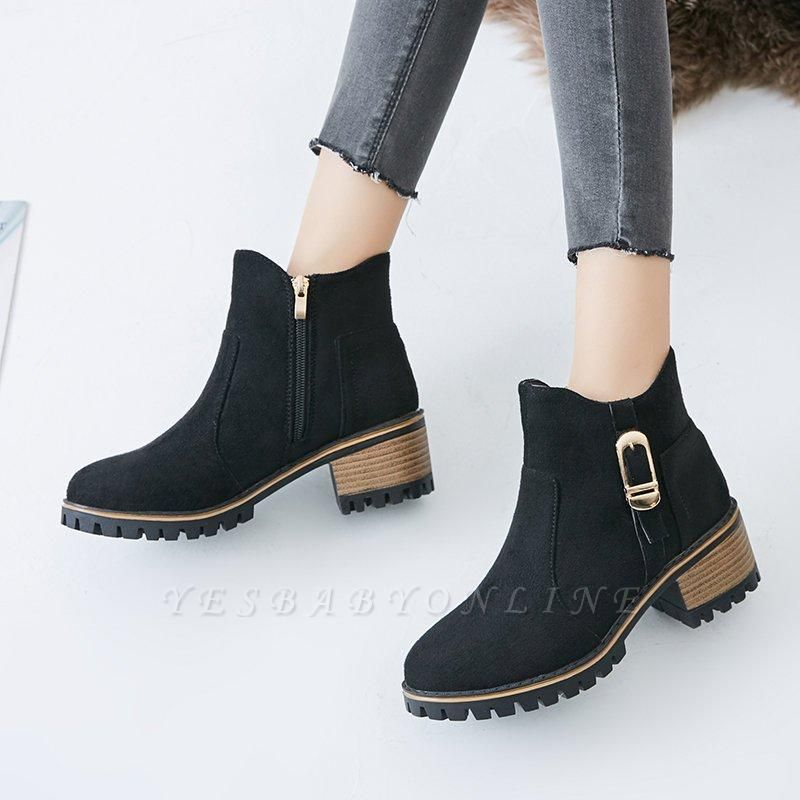 Buckle Chunky Heel Daily Round Toe Boots On Sale