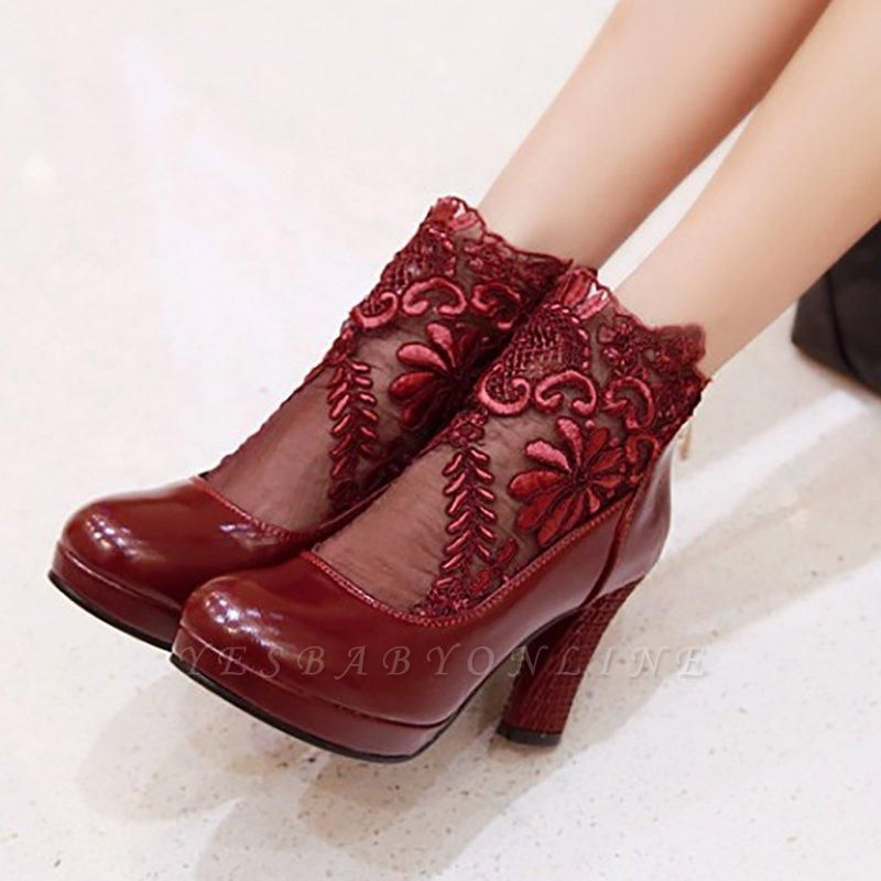 Mesh Fabric Zipper Round Toe Embroidery Boots On Sale