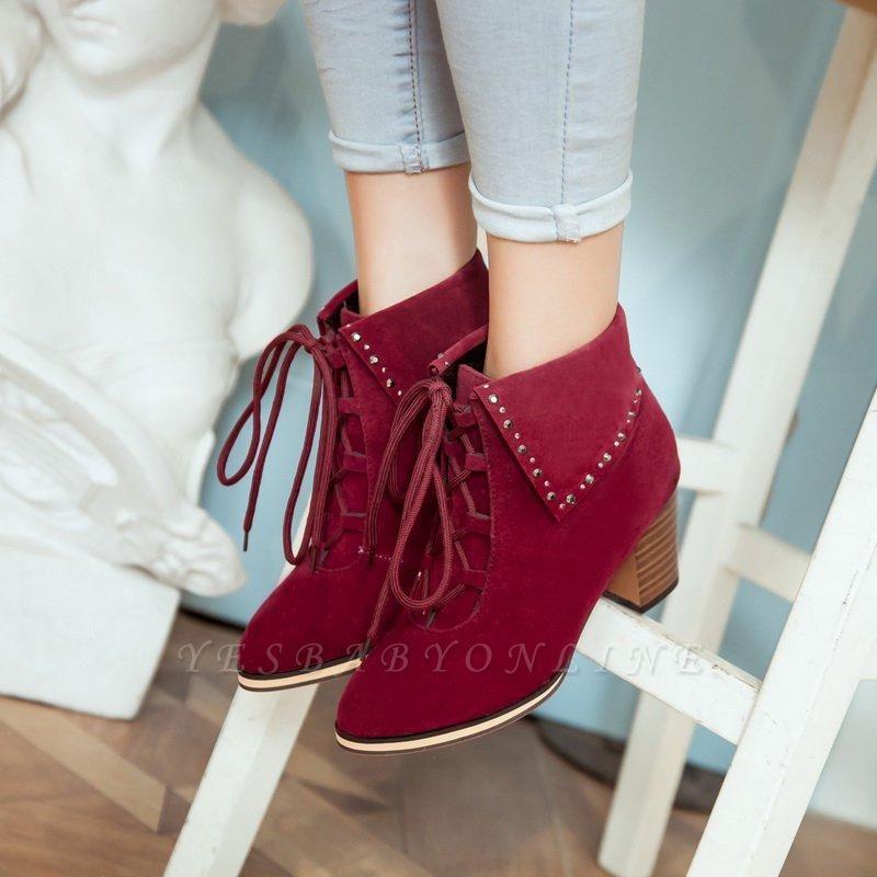 Chunky Heel Daily Rhinestone Pointed Toe Boots On Sale