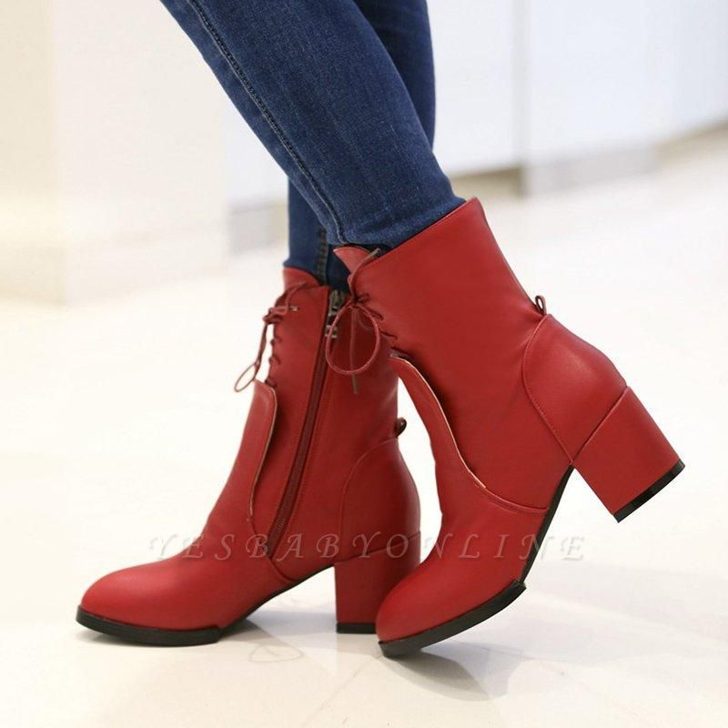 Chunky Heel Lace-up Working Pointed Toe Boots On Sale