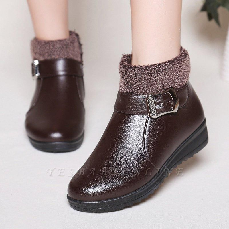 Wedge Heel Daily Zipper Round Toe Buckle Boots On Sale