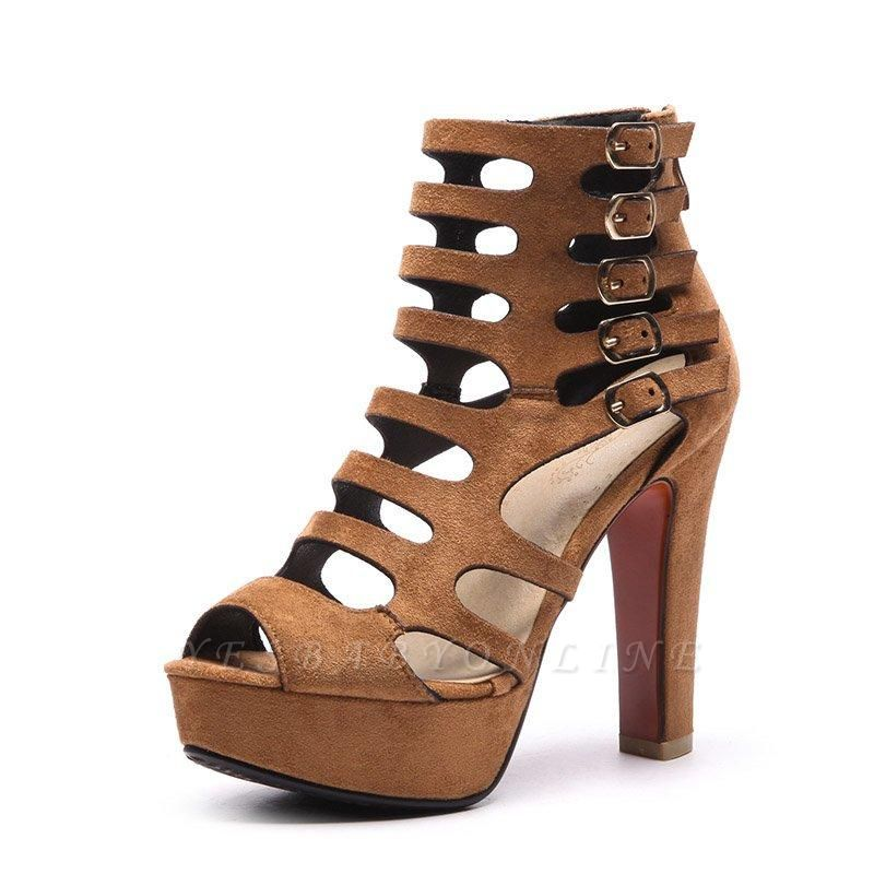 Suede Stiletto Heel Dress Lace-up Sexy Peep Boots On Sale