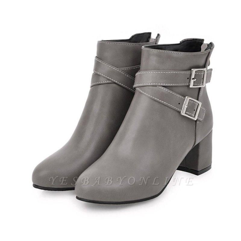Daily Chunky Heel Buckle Pointed Toe Boots On Sale