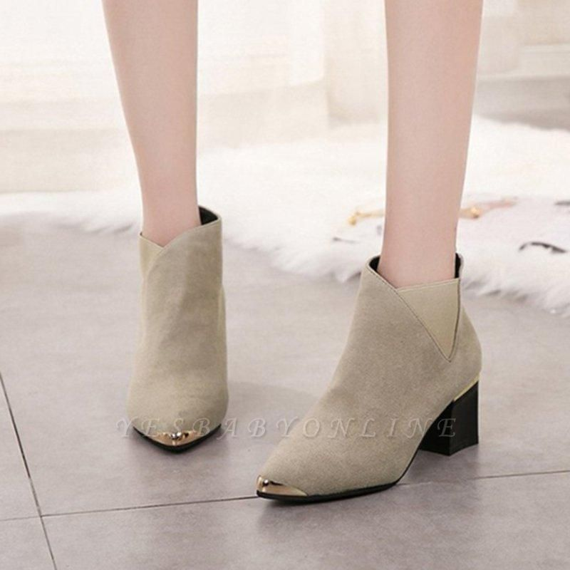 Suede Chunky Heel Pointed Toe Boots On Sale