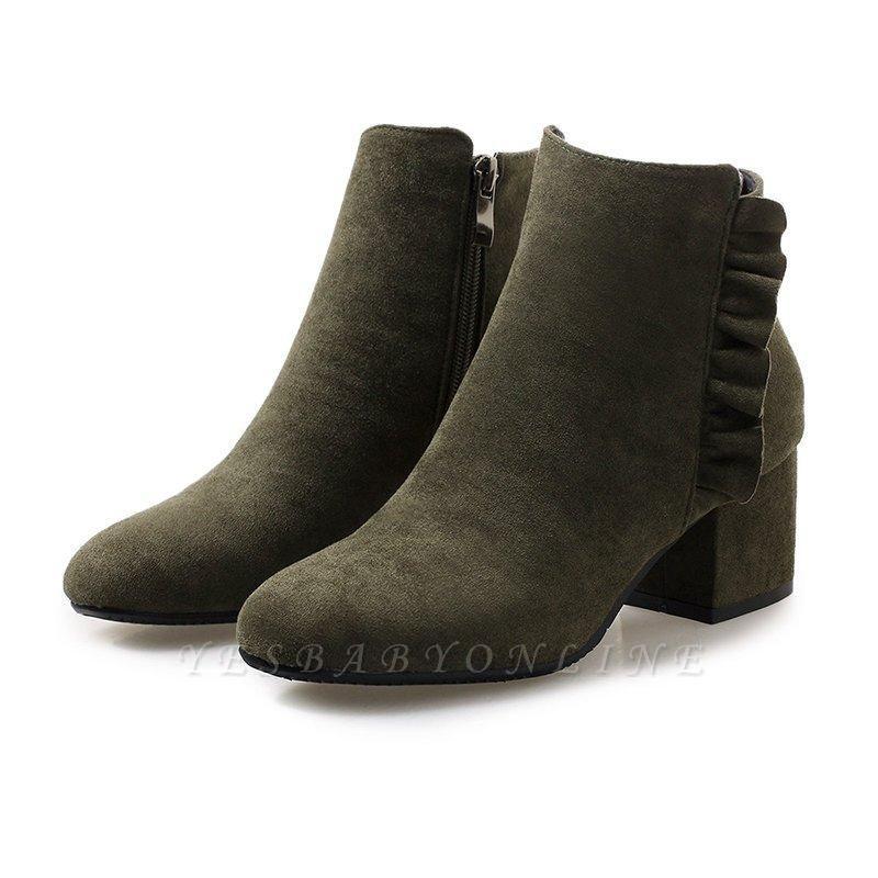 Chunky Heel Zipper Elegant Round Boots On Sale