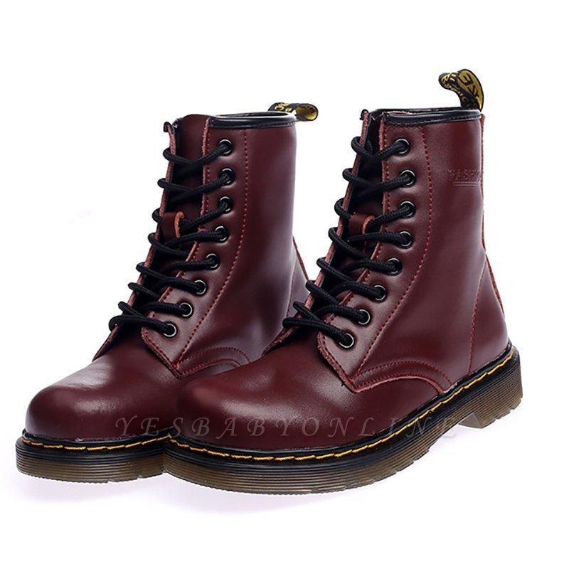 Chunky Heel Cowhide Leather Lace-up Boots On Sale