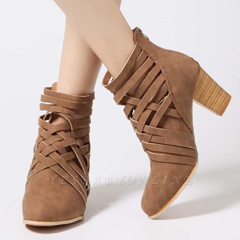 Zipper Pointed Toe Chunky Boots On Sale
