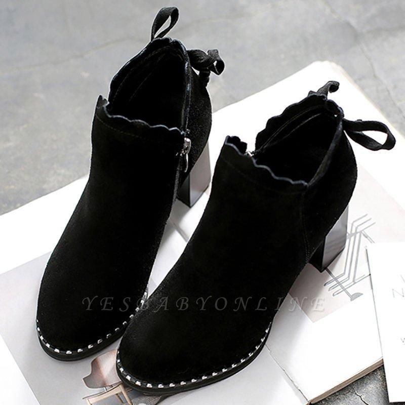 Suede Bowknot Zipper Boots On Sale
