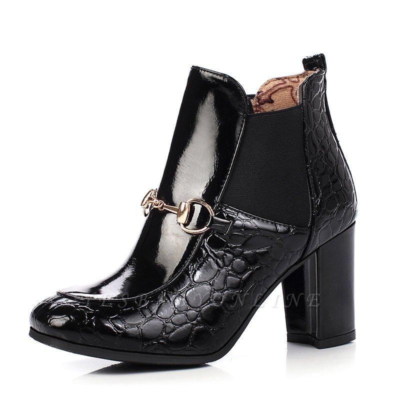 Daily Chunky Heel PU Round Boots On Sale