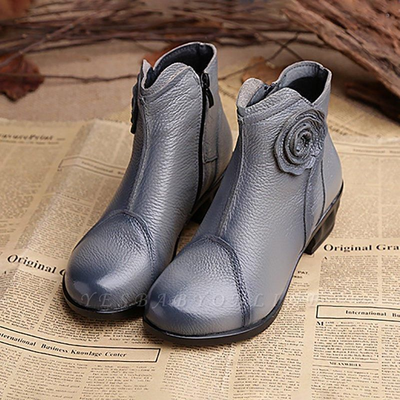 Daily Flower Round Toe Zipper Chunky Heel Boots On Sale