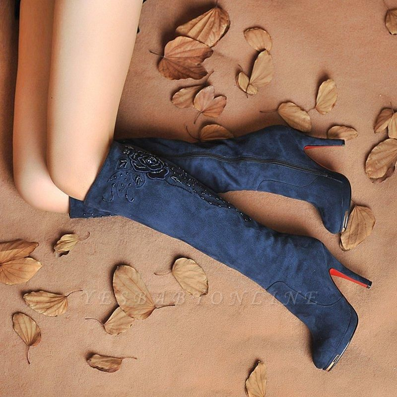 Women's Boots Stiletto Heel Flower Pointed Toe Elegant Boots On Sale