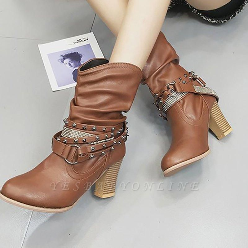Rivet Chunky Heel Daily Pointed Toe Boots On Sale