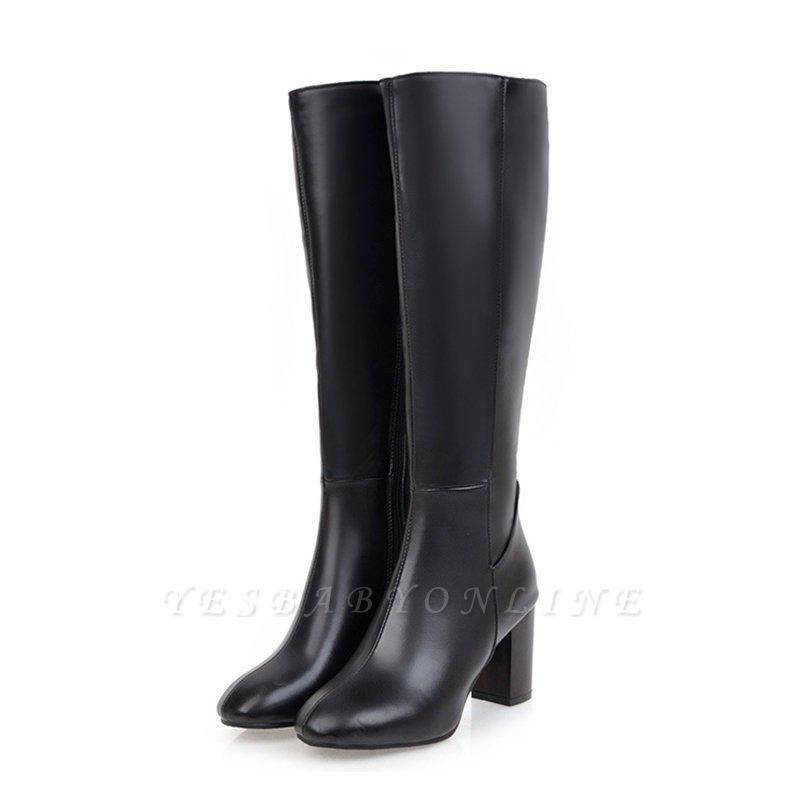 Zipper Chunky Heel Daily Round Toe Elegant Boots On Sale