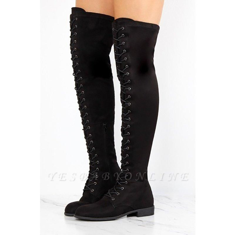 Lace-up Daily Chunky Heel Suede Fall Round Boots On Sale
