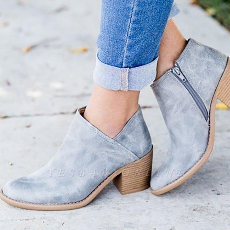 Womens Fashion Ankle Zipper Pointed Toe Chunky Booties On Sale