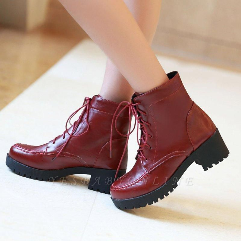 Daily Lace-up Fall PU Round Boots On Sale