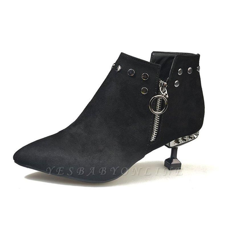 Rivet Kitten Heel Suede Boots On Sale