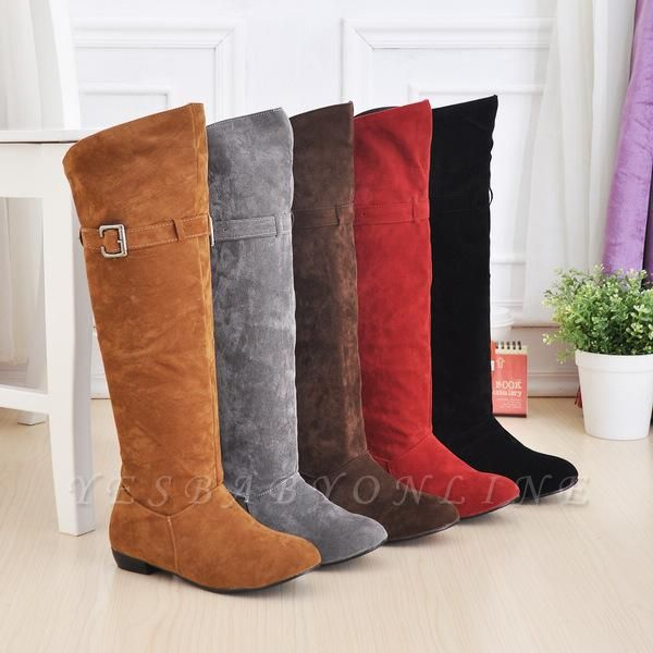 Suede Daily Wedge Heel Buckle Boots On Sale