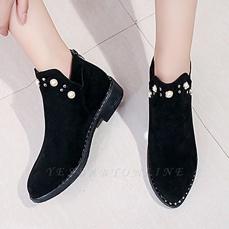 Suede Chunky Heel Daily Beading Round Toe Boot On Sale