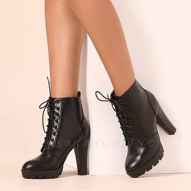 Chunky Heel PU Lace-up Boots On Sale