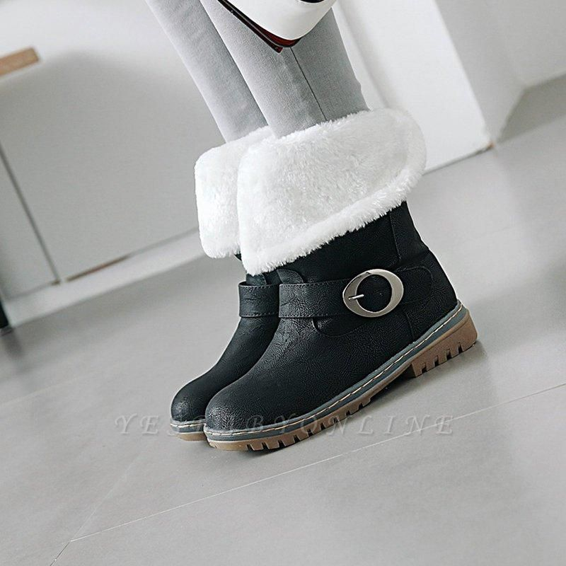 Women's Boots Round Toe Black Low Heel Boots On Sale