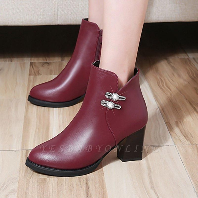 Chunky Heel Rhinestone Daily Pointed Toe Zipper Elegant Boots On Sale