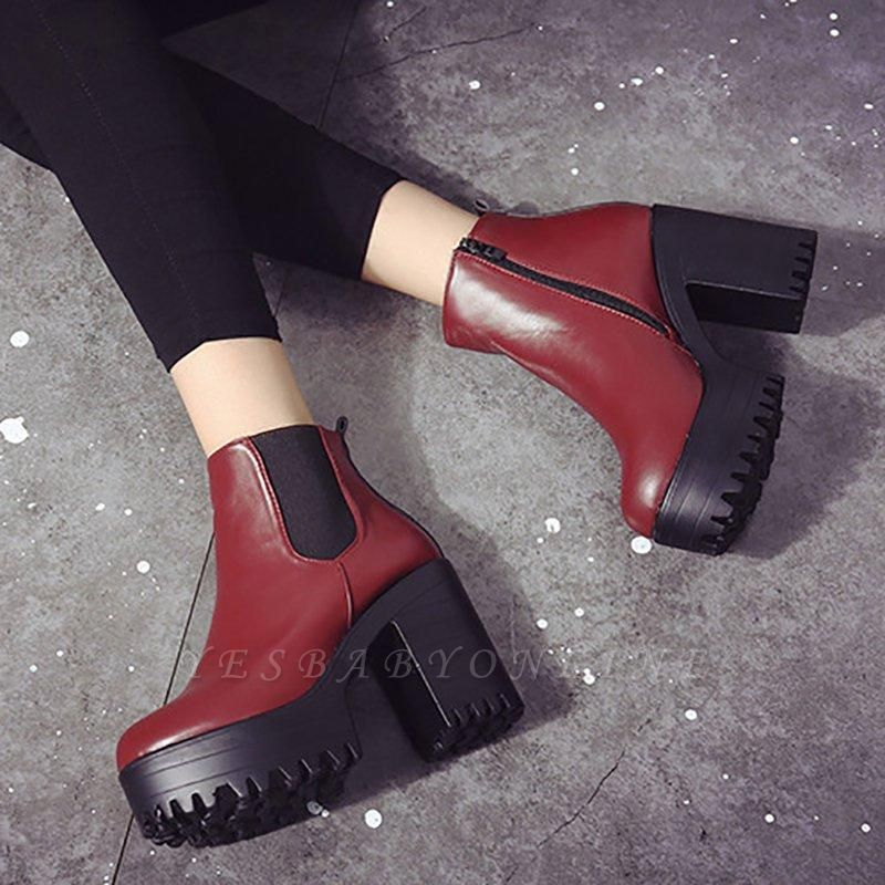 Daily Chunky Heel Round Toe Boots On Sale